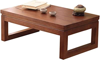 Coffee Tables Coffee Table Tatami Coffee Tables Bedroom Side Table Balcony Solid Wood Table Chinese Bay Window Small Desk Simple Japanese Window Sill Table (Color : Dark Brown, Size : 60 * 40 * 30cm)