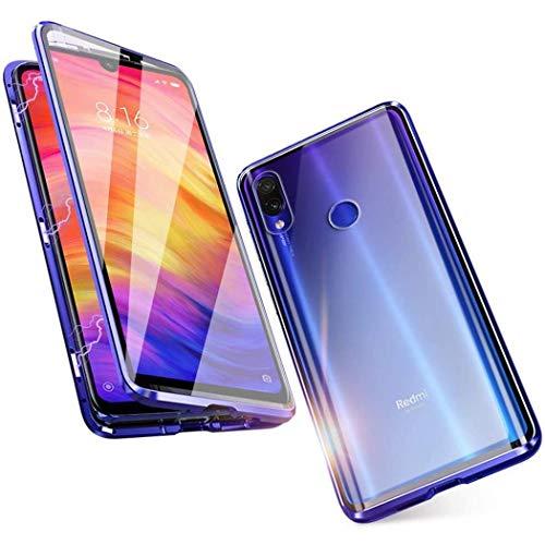 Funda para Xiaomi Redmi Note 7 Adsorcion magnetica Tech Carcasa Doble Cara Posterior Vidrio Templado Diseño unibody Imanes potentes Marco Incorporado Metal Flip Cover - Azul