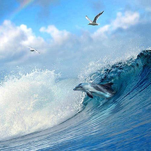 DFGJ Rompecabezas de 1000 Piezas de delfín Saltador y Gaviota voladora para Adultos, Madera para niños 75 * 50 cm