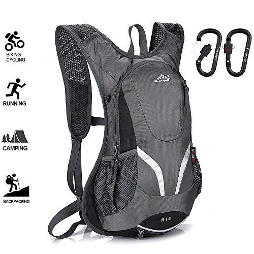 Yovanpur Fahrradrucksack, 15L Fahrradrucksack, Wasserdichter Fahrradrucksack Skirucksack zum Radfahren Wandern Camping Bergsteigen Skifahren Trekking mit 2 Schlüsselketten Karabiner (grau)