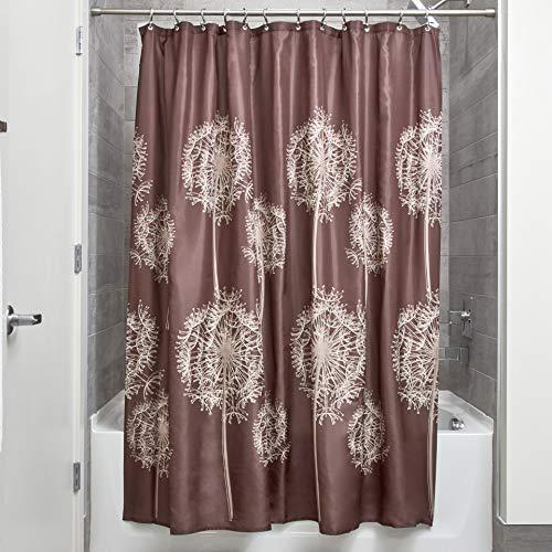 InterDesign Dandelion Duschvorhang   183,0 cm x 183,0 cm großer Badewannenvorhang   waschbarer Duschvorhang aus weichem Stoff   Polyester braun