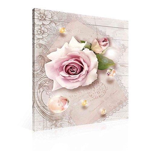 Blumen Rosen Rosa Tropfen Vintage Leinwand Bilder (PP2270O4FW)