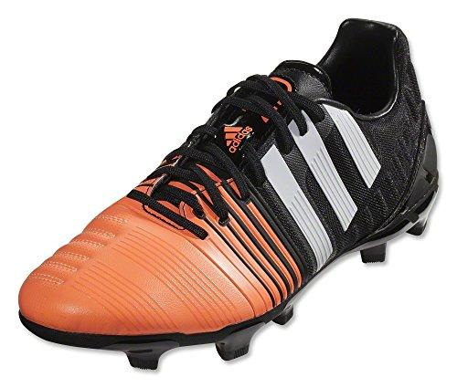 adidas Performance Nitrocharge 3.0 Firm-Ground J Soccer Cleat (Big Kid), Core Black/Running White/Flash Orange/Pink Soft, 4 M US Big Kid