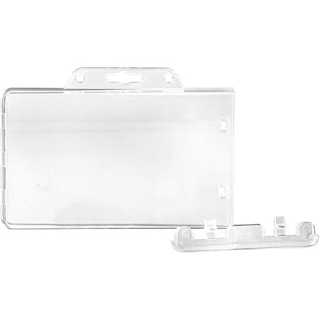 Porte-carte d'identification Karteo® avec verrouillage permanent | Porte-carte transparent horizontal | Porte-badge en plastique dur