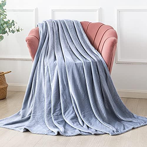 Familybox Mantas para Sofás de Franela, Mantas Ligeras Mantas para Cama de Reversible de Microfibre Extra Suave (Gris Claro, 150×200cm)