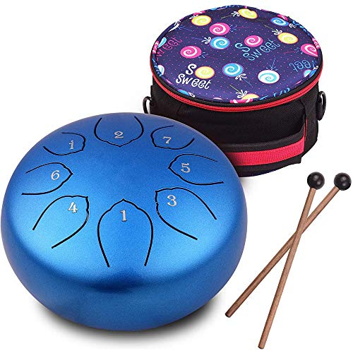 Steel Tongue Drum 6 inches 8 Notes Percussion Instrument C-Key Handpan Drum with Bag,Couple of Mallets Wiping Cloth for Musical Education Concert Yoga (Blue)
