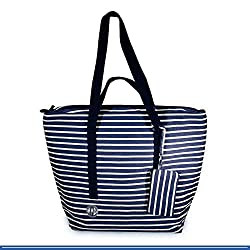 an amazing canvas purse with blue and white lining