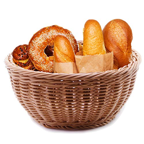 Woven Bread Basket 12 in Round Poly-Wicker Food Fruit Vegetable Basket Serving Basket for Store Kitchen (Round,1pc)