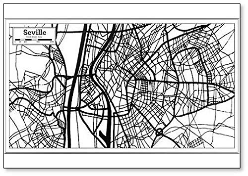 Sevilla Spanje City Map In Retro Stijl - Koelkast Magneet