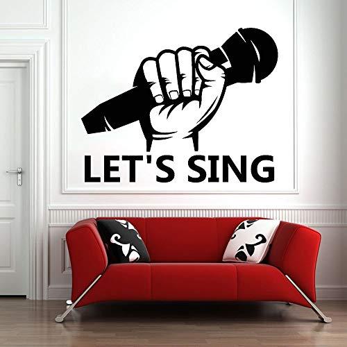 Tianpengyuanshuai Laten we zingen vinyl muurstickers woonkamer microfoon karaoke muziek muur stickers muziek klaslokaal moderne huisdecoratie