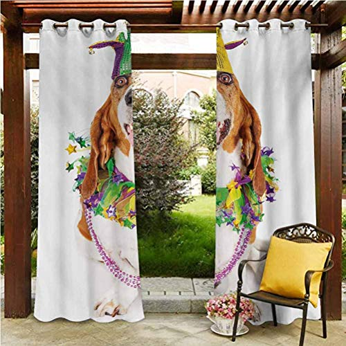 ScottDecor Mardi Gras Pergola Outdoor Curtain Panel Thermal Insulated Room Darkening Curtains Happy Smiling Basset Hound Dog Wearing a Jester Hat Neck Garland Bead Necklace Multicolor