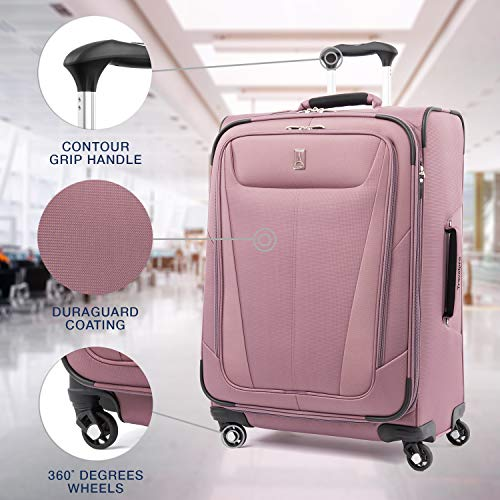 Travelpro Maxlite 5 Lightweight Checked Medium 25' Expandable Softside Luggage Dusty Rose, 25-inch