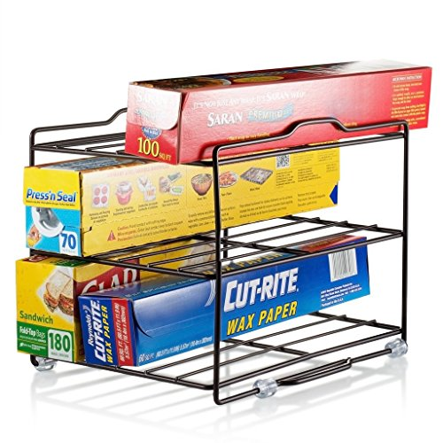 Kitchen Wrap Organiser Rack - cabinet organiser for food Wrap and Foil - pantry organisation for parchment paper and plastic food bags