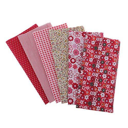 IPOTCH 6 Piezas Trapo de Algodón Impreso Craft Tela Patchwork Impresión Telas Tejidos Material Scrapbooking