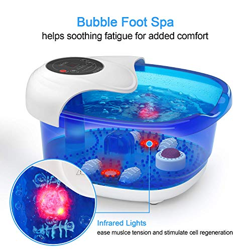 Foot Spa Misiki Foot Bath Massager with Heat Bubbles Vibration and Auto Shut-Off; 4 Massage Rollers and Pedicure Stone for Acupressure Shiatsu Massage to Relax Feet Muscle