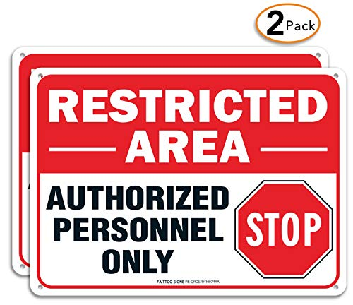 (2 Pack) Restricted Area Sign Authorized Personnel Only, Do Not Enter Sign, 10 x 7 Inches .40 Rust Free Aluminum, UV Protected, Weather Resistant, Waterproof, Durable InkEasy to Mount