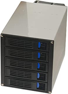 Perfk 5 Drive Bay Aluminum Trayless Hot Swap Mobile Rack Backplane with Fan for 3 x 5.25 to 5 x 3.5inch SAS/SATA