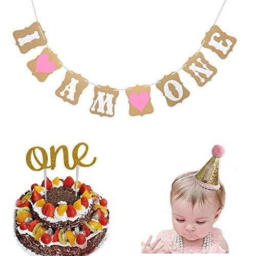 Dusenly I Am One Bandera Bebé Primero Torta de cumpleaños con el Primer Juego de Sombreros de Fiesta de cumpleaños Bebé Favores de decoración de cumpleaños de niño niña (Rosa)