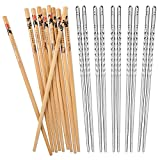 Hiware 10 Pairs Reusable Chopsticks Set Include 5 Pairs Metal Stainless Steel Spiral Chopsticks…