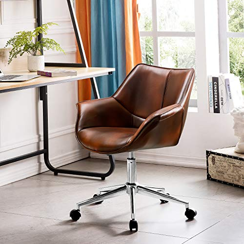 OVIOS Office Chair,Computer Chair for Home Office or Conference.Swivel Desk Chair with Chrome Base and Arms. (Leather)