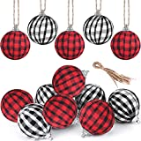Fvviia Christmas Buffalo Plaid Fabric Ball Ornament Decorations Christmas Tree Hanging Ornaments Christmas Balls Decoration Holiday Party Xmas Decor (White and Black+Red and Black-12 Pieces)