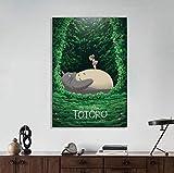 NVRENHUA Mon Voisin Totoro, Ghibli Studio, Affiche Anime Japonais, Hayao Miyazaki, Toile d'art Mural, idée Cadeau, Anniversaire 50X70Cm sans Cadre