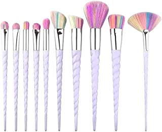 Colorful Spiral Sleeve Makeup Brush Set 10 PCS Fashion Makeup Brushes Conical Unicorn Makeup Brushes Foundation Concealer ...