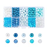 PandaHall 500PCS 6-6.5mm Perline Vetro Perle di Vetro Crackle Perline Colorate Rotonde per Gioielli Fai da Te, Foro: 1mm,10 Stili, Circa 50pcs / compartimento,