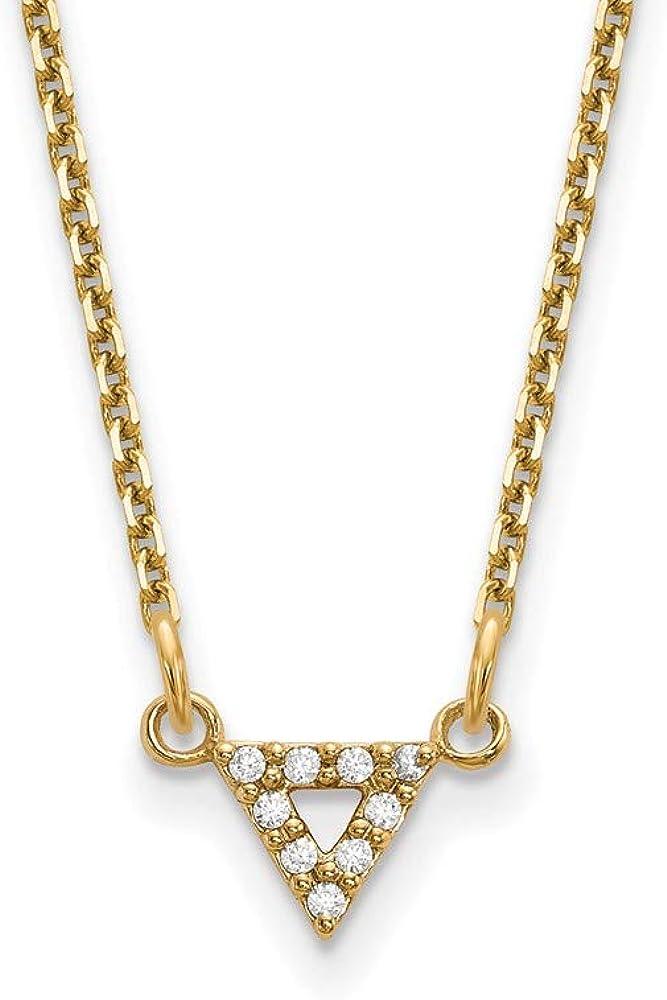 Solid Ranking TOP20 14k Yellow Gold Geometric New item Diamond 6mm Nec Triangle Pendant