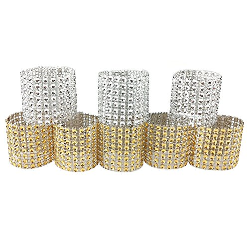 100PCS Rhinestone Napkin Rings Diamond Decoration for Wedding Party Banquet Reception Catering by CSPRING