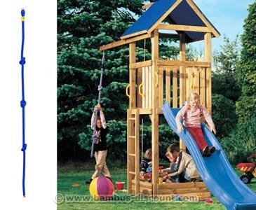 bambus-discount.com Kletterseil mit 3 Knoten für Spielturm, 200cm - Kinderspielgeräte für Garten, Spielgeräte für Kinder, Spielturm, Spieltürme