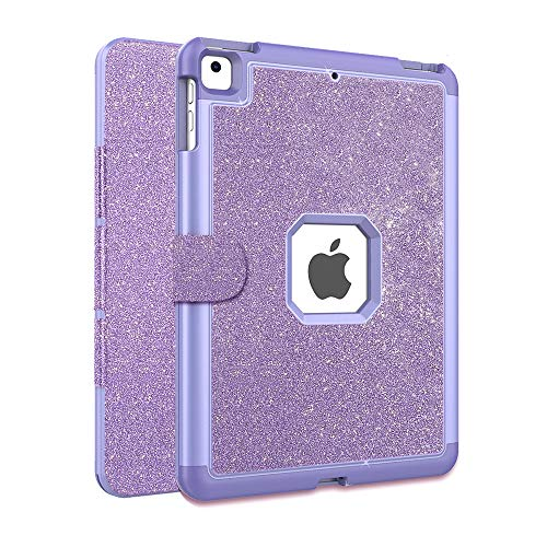 FSCOVER Heavy Duty iPad Case 9.7 inch 2018/2017 6th/5th Generation, Trifold Stand Flip Cover Three Layers Shockproof Rugged Full Body Protective Case for Apple iPad 9.7' 2018/2017,Purple
