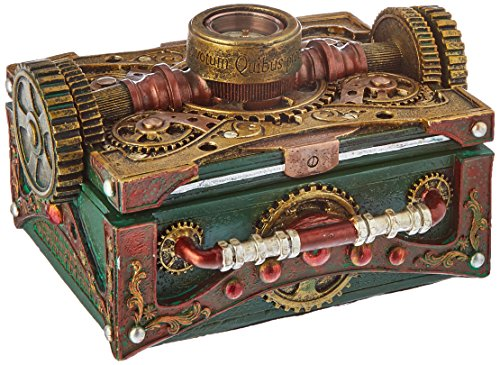 Pacific Trading Steampunk Box with Compass Jewelry Trinket Container New