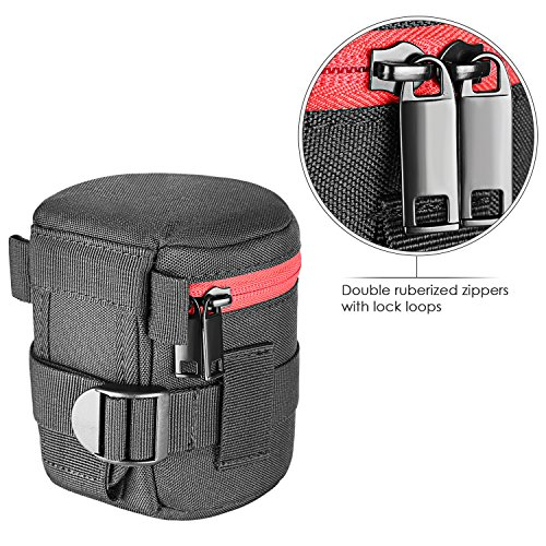 Neewer Padded Cylindrical Lens Pouch Case Bag for 18-55 mm Camera Lens, Such as Canon 50-1.4 50-1.8 85-1.8 18-55 35-2, Nikon 50-1.8 16-85 18-55 35-1.8G 60-2.8