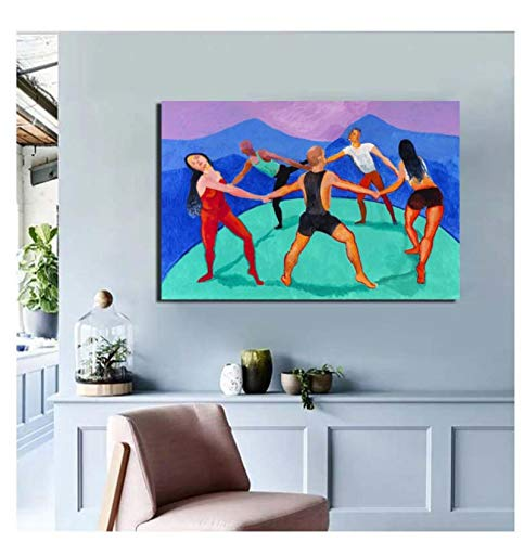 DNJKSA David Hockney Dancers Wall Art Painting Print on Canvas Art Poster Pictures Imágenes de la Sala de Estar Decoración del hogar Regalo único-24x32 IN Sin Marco