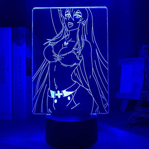 Luminária de LED Anime Akame Ga Kill Esdeath Figura Abajur para decoração de quarto, luz noturna, presente de aniversário infantil, 16 cores com abajur de mesa de LED remoto