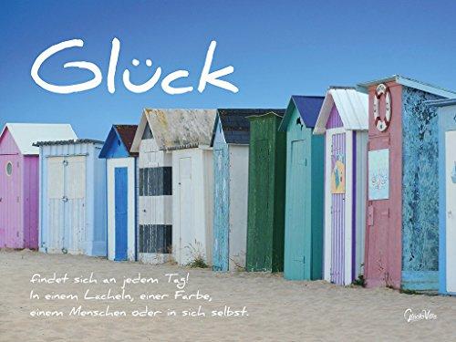 Glück-Art - Póster de artistas, 80 x 60 cm, impresión XXL sobre lienzo de 2 cm, con frase, palabra en alemán, palabras, poesía de playa, color azul
