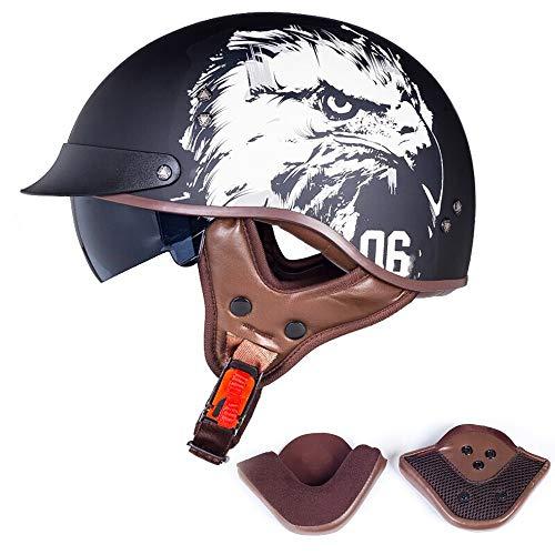 QXFJ Full Face Motorbike Helmet,Full Face Helmet Motorcycle Helmet Men And Women Personality Four Seasons Universal Full Helmet Cover Locomotive Helmet Winter DOT//ECE Certification