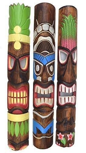 Interlifestyle 3 Stück Tiki Wandmaske im Tiki Hawaii Style in 100cm Länge