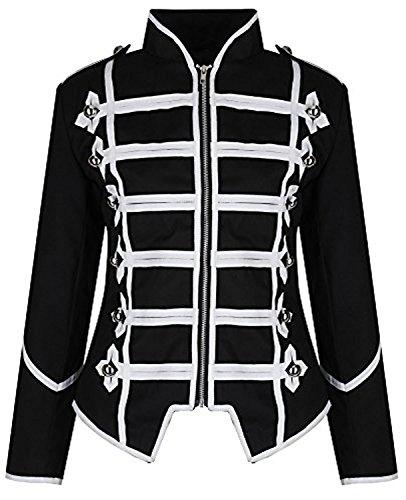 Ro Rox Womens Military Parade Emo Punk Drummer Jacket - Black & White (XL)