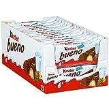 Full Box of 30 Bars Kinder Bueno Chocolate with Hazelnut Cream Filled Waffles