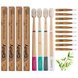 4-Pack of Premium Natural Bamboo Toothbrushes – 10 Interdental Brushes | Boar Bristle Toothbrush | Eco Friendly and Biodegradable | Organic | Wood Toothbrush | Zero Waste | Functional | 4 Icons