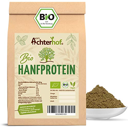 Bio Hanfprotein | 1000g | Pflanzliches Eiweißpulver mit 50% Proteingehalt | 1 KG Bio Hanfmehl direkt vom Achterhof
