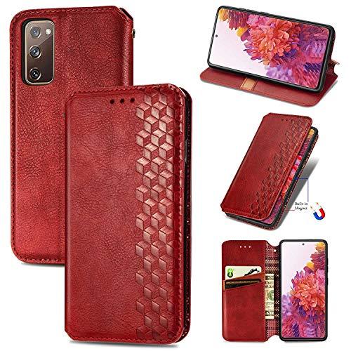 Bear Village Hülle für Galaxy S20 FE/Galaxy S20 Lite, PU Leder Flip Handyhülle für Samsung Galaxy S20 FE/Galaxy S20 Lite, Brieftasche Schutzhülle mit Standfunktion & Kartenfächer, Rot