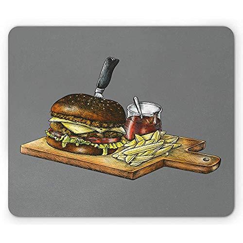 Houtskoolgrijze muismat, Hedendaagse Fast Food Artwork van handgetekend als Hamburger Fries en Saus, Antislip Rubber, 25x30cm