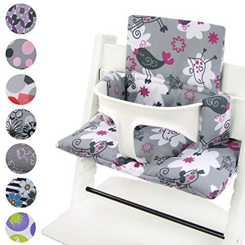 BambiniWelt zitkussenset voor stokken Tripp Trap hoge stoel *20 KLEUREN* vervangkussens kussens 2-delig grijs/roze vogels
