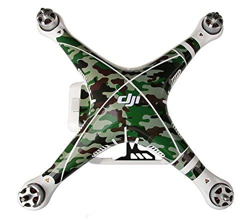 iMusk Haut Aufkleber für DJI Phantom 3, exklusive Dekoration Wrap Wasserdicht PVC Cover Sticker Kit für DJI Phantom 3 Professional / Advanced Quadcopter Drohne Gehäuse, Fernbedienung und Batterien (Camouflage)