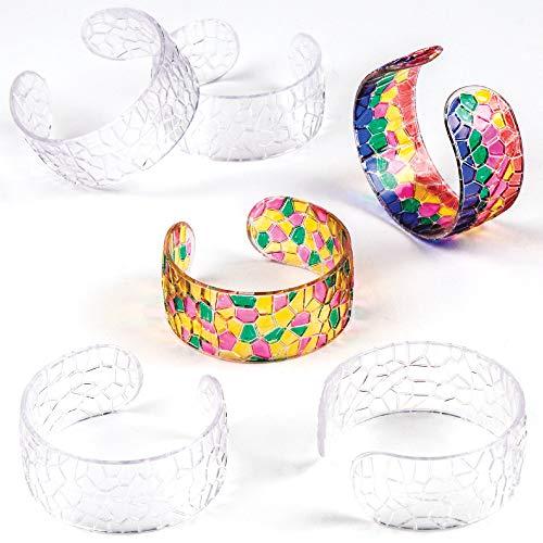 Baker Ross Transparente Mosaik-Armspangen (6er-Pack), perfekt für Kinder zum Dekorieren und Tragen, ideal für Heimwerker, Schule, Handwerksgruppen und mehr