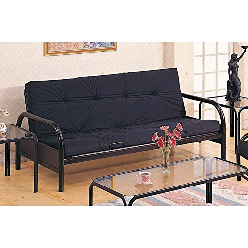 Best Review Of Glossy Black Futon Frame Casual Solid Metal Multi-Position