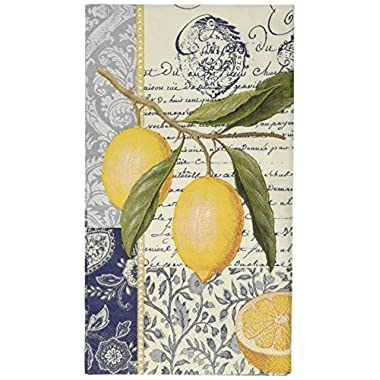 Paperproducts Design Luxury Guest/Hand Towels (Set of 15), 5  x 7 , Multicolor, Citron Lemon